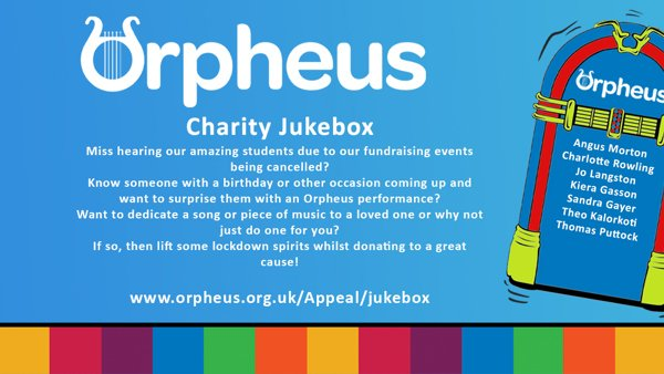 Orpheus advertising banner with blue background and a dancing jukebox. promoting jukebox appeal