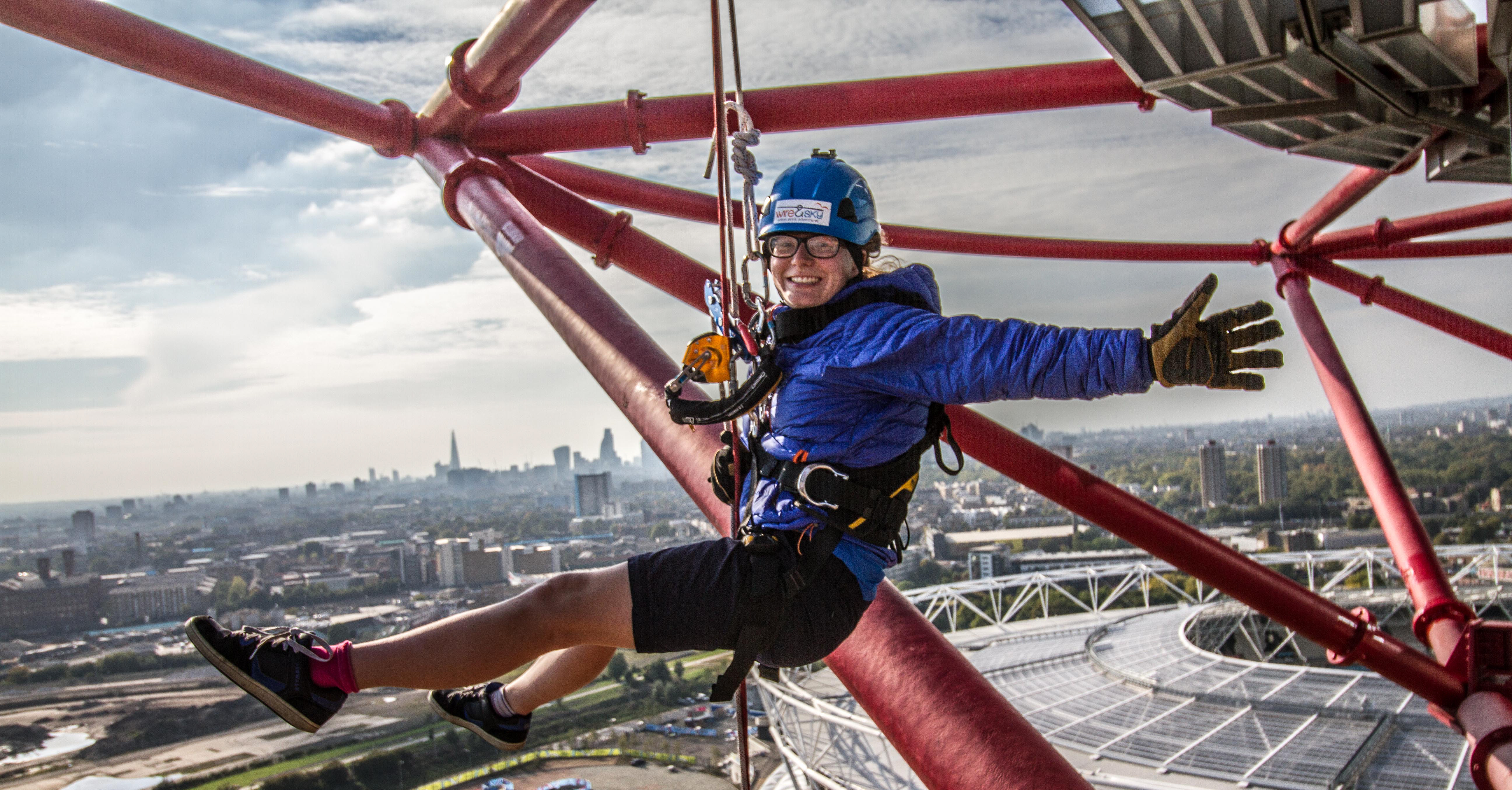 A fundraiser about to abseil down the  ArcelorMittal Orbit