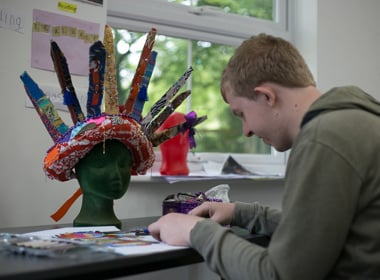 Student working towards Arts Award