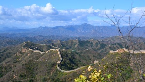 The Great Wall of China with mountain range back drop