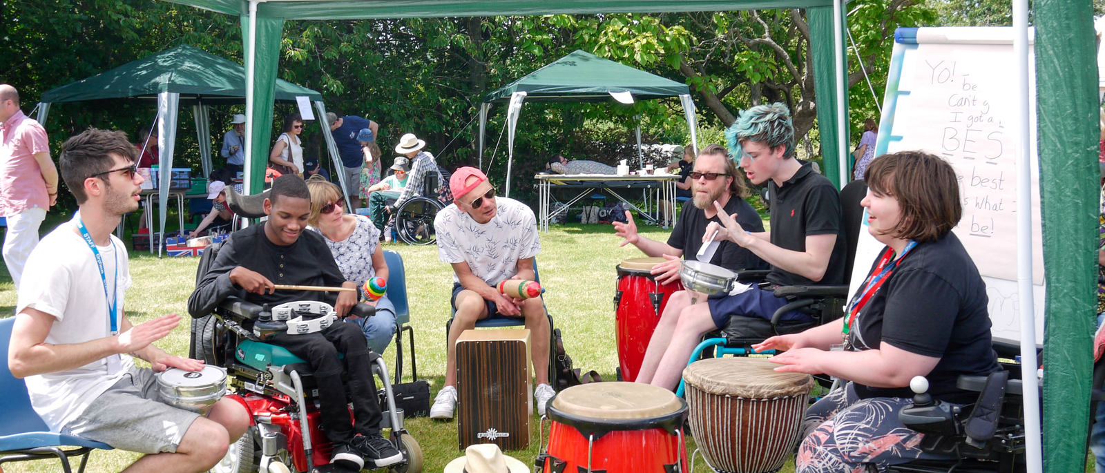 Orpheus Open day - Students entertain on drums and other musical instruments