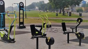 An outdoor gym and Multi Use Games Area (MUGA)